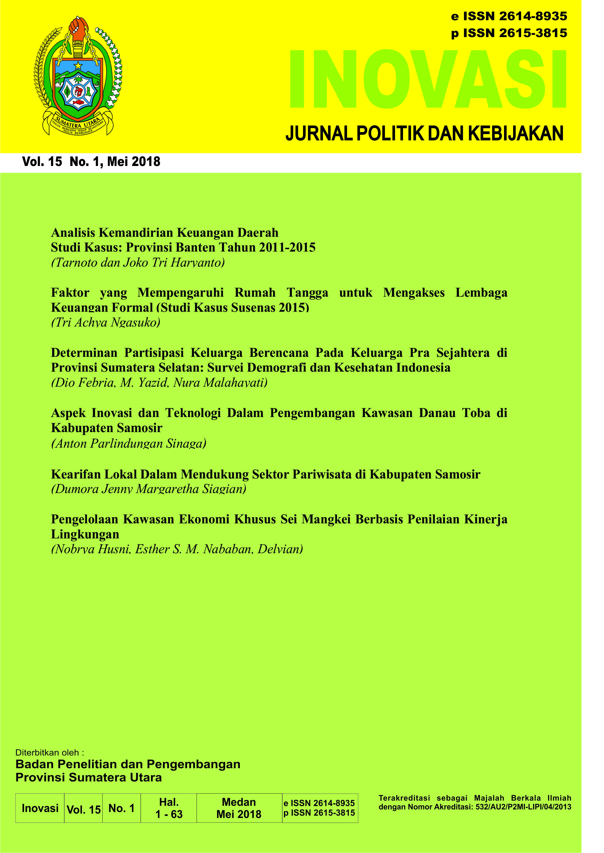 Jurnal INOVASI Vol. 15 No.1, Mei 2018